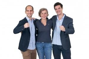 Les fondateurs de Weenect (de gauche à droite) : Adrien Harmel, Bénédicte de Villemeur et Ferdinand Rousseau. © Weenect