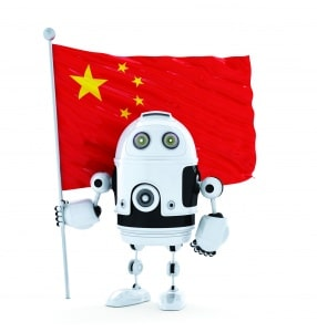 Android Robot standing with flag of China. Isolated over white