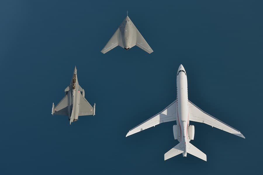 Vol en patrouille Dassault 5 pilotes du numérique dans l'industrie