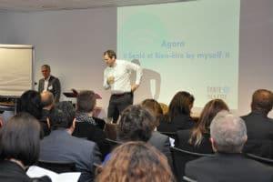 """Sylvain Fievet, (Alliancy le mag) et Vincent Mangematin (Grenoble Ecole Management) © Ecosystème """"Santé bien-être by myself"""""""