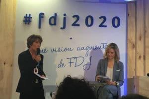 """Stéphane Pallez, PDG de la FDJ, a présenté le projet """"FDJ 2020 : une vision augmentée de la FDJ"""". © Charlie Perreau"""