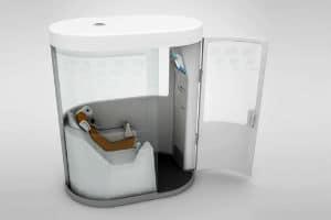 Cette cabine connectée offre un bilan de santé en 10 minutes. © H4D