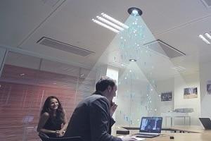 Par se connecter à Internet, il suffit d'être situé sous un  cône lumineux. © Lucibel