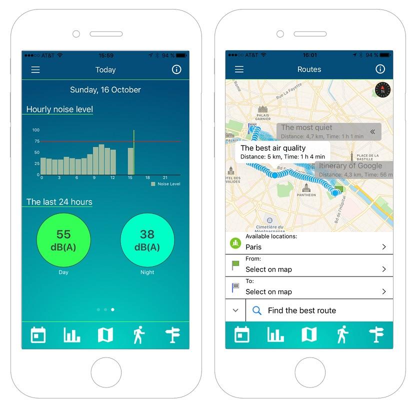 Un service d'itinéraire dans la ville permet de choisir un déplacement piéton minimisant l'exposition au bruit ou à la pollution atmosphérique.