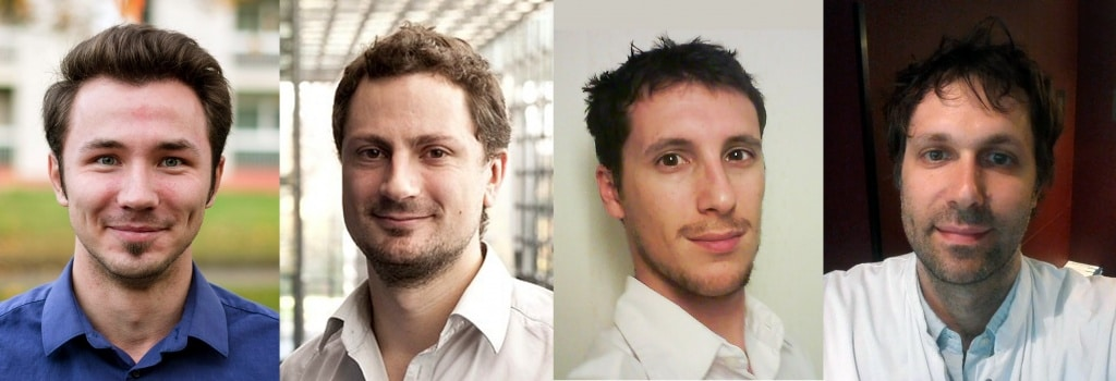 Dans l'ordre de gauche à droite : Yaroslav Nikulin, chercheur pilote sur ce projet,Pierre Fillard, CTO et co-fondateur, Olivier Clatz, CEO et co-fondateur, Antoine Lannessi, Radiologue consultant et co-fondateur