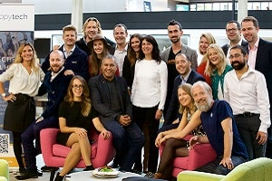 L'équipe d'HappyTech chez Station F, lors du lancement officiel fin septembre d'HappyTech, le 1er collectif de start-up Tech et Bien-être