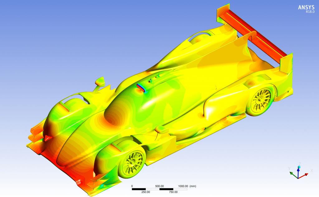 La simulation numérique permet à Oreca de déterminer les zones aérodynamiques de la voiture. ©Oreca