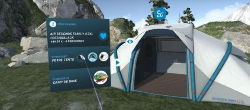 En 2018, 30 magasins Décathlon proposeront de la réalité virtuelle dans leurs rayons tentes. ©DR