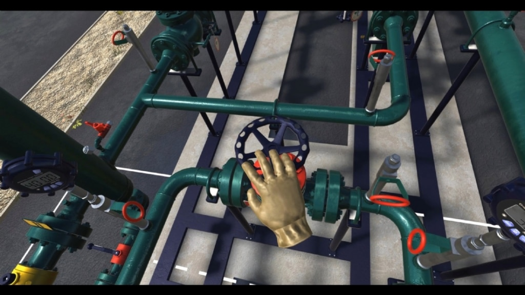 Les techniciens de maintenance de GRTgaz peuvent s'entraîner à manipuler des vannes sans danger grâce à la VR. ©DR