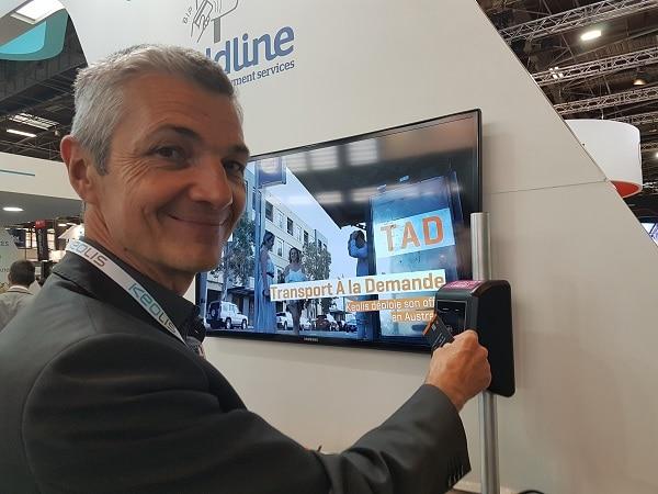 Laurent Verschelde, directeur de Keolis à Dijon, a présenté l'open payment dans les tram au salon sur les transports publics à Paris. ©CGM