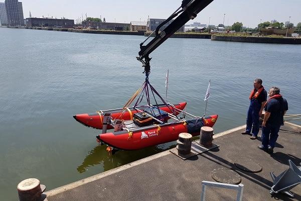 Echodrone pourra affectuer des mesures 24h/24 et même en période de trafic dense grâce à son analyse de parcours de navigation des autres navires. ©Port d'Anvers