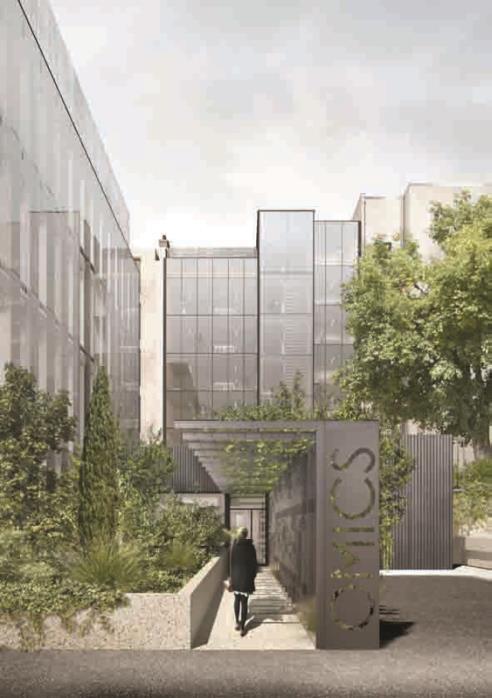 Le projet a consisté à créer un ensemble homogène et cohérent à partir de deux bâtiments préexistants. Cette nouvelle enveloppe de verre marque la transparence et l'ouverture des bâtiments. ©daarchitectes