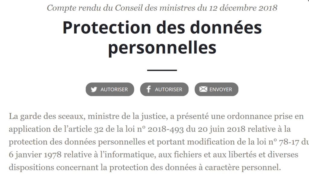 a protection des données personnelles