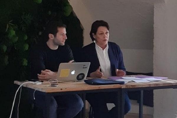 Véronique Bédague (Nexity) et Clément Alteresco (Morning Coworking) lors de la conférence de presse du 16 janvier à l'espace République (75010). DR