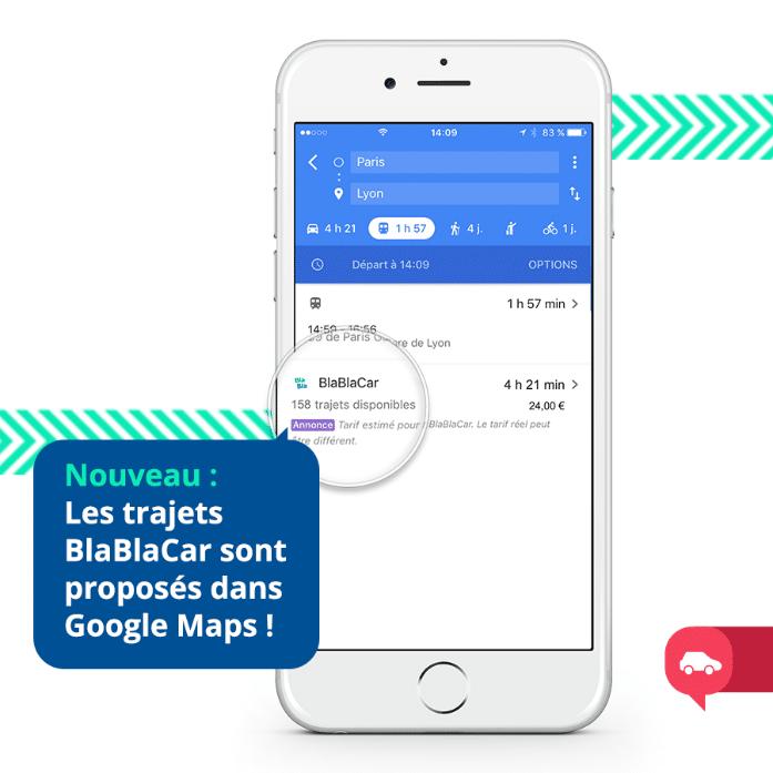 Depuis 2017, l'intégration des trajets en covoiturage de BlaBlaCar s'affichent directement dans les modes de transport proposés par Google Maps, dans tous les pays où la société française est présente.