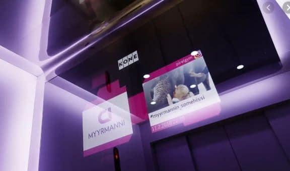 « L'ascenseur social » inventé en collaboration avec Koné et Citycon est situé au centre commercial Myyrmanni, à Vantaa en Finlande.© Koné