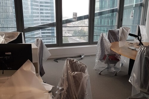 L'intérieur d'un futur espace de travail au sein du nouveau siège de Saint-Gobain à la Défense (92)