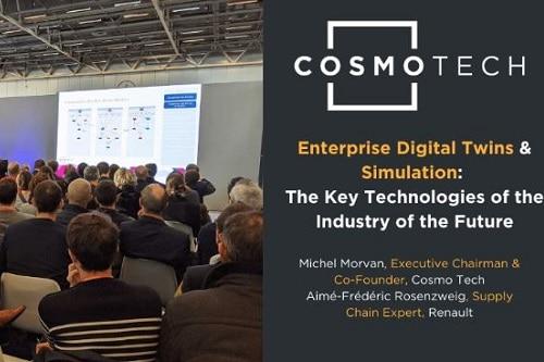 Lors du salon Supply Chain Event qui s'est tenu fin 2019 à Paris, Renault a présenté l'utilisation d'un jumeau numérique de son outil de production, mis au point par Cosmo Tech
