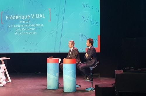 Hier soir, Bruno Sportisse, PDG d'Inria et Cédric O, Secrétaire d'Etat chargé du Numérique, sur la scène de la Gaîté Lyrique, en présence également dans la salle de Frédérique Vidal, ministre de l'Enseignement supérieur, de la Recherche et de l'Innovation.