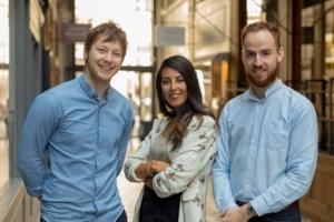L'équipe dirigeante de Supermood : Kevin Bourgeois (CEO), Neila Choukri (COO) et Robin Nicollet (CTO).