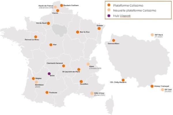 Le déploiement des nouvelles plateformes de La Poste : en décembre 2019 dans les Hauts de France, en juillet dernier en Côte d'Azur, ce mois-ci dans les Alpes et trois autres à Bordeaux dans le Nord et le Sud de l'Ile de France dans les trois prochaines années.