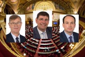 Les sénateurs à l'origine de la proposition de loi, de gauche à droite : Jean-Michel Houllegatte (SER, Manche), Patrick Chaize (LR, Ain) et Guillaume Chevrollier (LR, Mayenne).