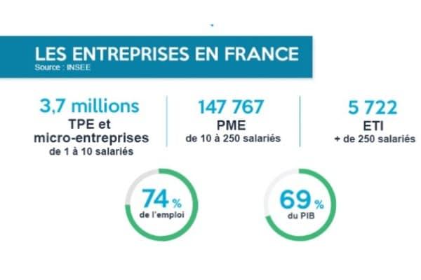 Il y a 3,7 millions de TPE et micro-entreprises en France, plus de 147 000 PME et plus de 5000 ETI. Ces petites et moyennes entreprises représentent 74% de l'emploi et 69% du PIB.