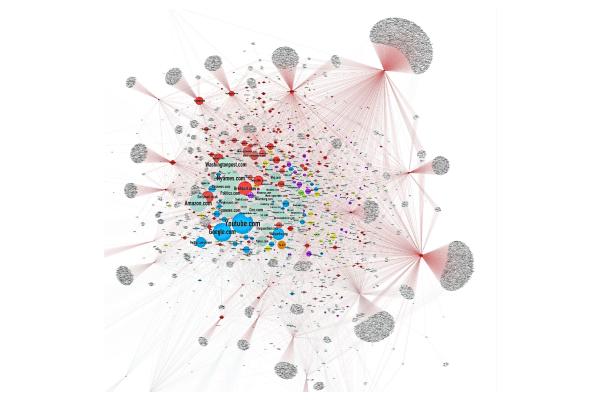 Le professeur à l'université de Columbia Jonathan Albright a utilisé des outils de data visualisation pour montrer comment se diffusent les fakes news. Il a analysé plus de 80 000 hyperliens propagés pendant les élections américaines de 2016 par 117 sites internet complotistes.