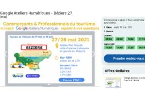 Un van aux couleurs de Google réalisera une tournée dans l'Hérault du 19 mai au 14 juin prochains, pour former les commerçants au numérique. Ici, un exemple de prise de rendez-vous pour les habitants de Béziers.
