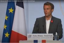 Emmanuel Macron présente les aides à la French Tech dans son plan de relance le 14 septembre 2020 à l'Elysée.