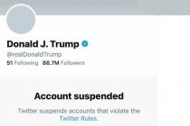 fermeture d'un grand nombre de comptes virtuels sur lesquels s'exprimait Donald Trump